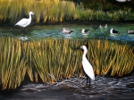 egrets in waterway