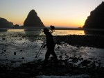 working at sundown, Whaleshead Beach, Oregon coast